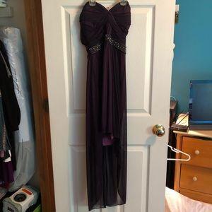 Purple High Low Strapless Dress